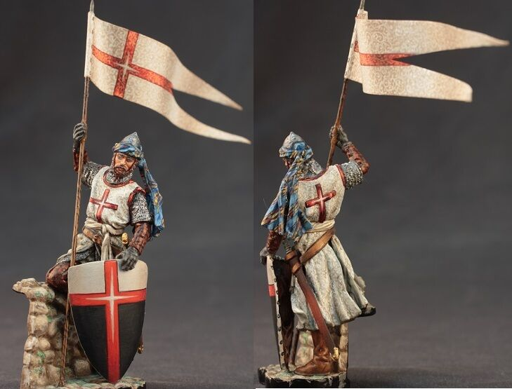 Tin toy soldiers ELITE painted 54 mm Medieval knight with flag