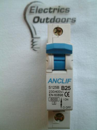 Anclif 25 Ampères type B 6 kA single pole RCM disjoncteur 230V s125b BS en 60898