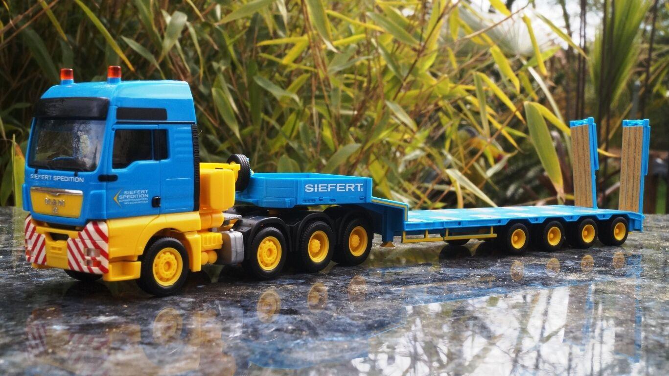 Herpa  MAN TGX XXL 540 Semitieflade-Sattelzug  Siefert Spedition