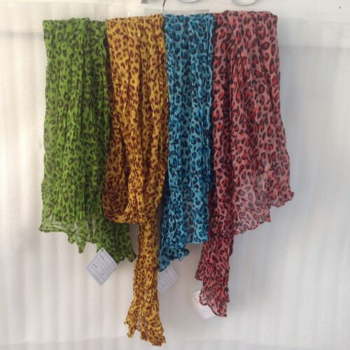 Woman Spring Crinkle Scarf Wrap Shawl Leopard Print Blue Pink Green Yellow Green