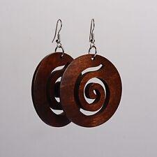1 x Pair of Brown Swirl Wood Carved Round Spiral Koru Earrings bohemian womens