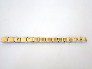 Stainless-Steel-9MM-Italian-Charms-Starter-Bracelet-Silver-Edge-on-Gold-Shiny