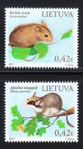 Lithuania-2017-set-of-MNH-stamps-WWF-Northern-birch-mouse-amp-Garden-dormouse