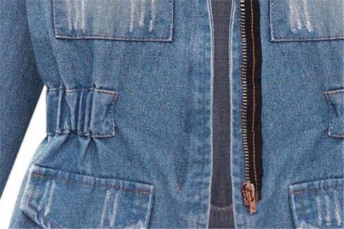 Womens Cotton Blue Jeans Denim Jacket Long Sleeve Trench Coat Outerwear Shirt