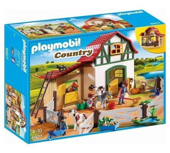 Playmobil 6927 pays poney ferme chevaux peuvent être liés à la poignée extérieure tandis que