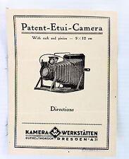 Original Kamera Werkstaetten, Patent Etui Instructions - printed before WWII