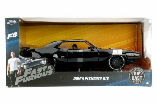 New JADA Fast and Furious Dom's Plymouth GTX Furious 8 Black Diecast 1:32 Scale