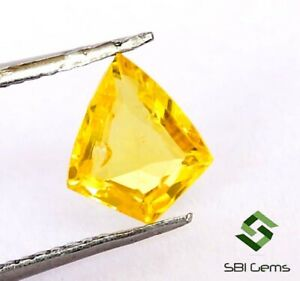 0.71 Cts Certified Natural Yellow Sapphire Fancy Cut 7x6 mm Lustrous Gemstone