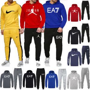 Men Tracksuit  Fleece Warm Jogging Hoodie Full Top Bottom Sports Wear S M L XL