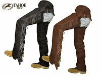 Tahoe Suede Leather Western Full Chaps With Fancy Fringes Black Or Brown
