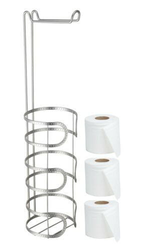 CHROME STAINLESS STEEL TOILET LOO ROLL HOLDER BATHROOM STORAGE FREE STANDING NEW