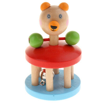 Natural Wooden Baby Musical Rattle Montessori Sensory Toy Educational Car