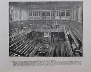 1896 London Stampa + Testo Interno Di The Casa Di Commons