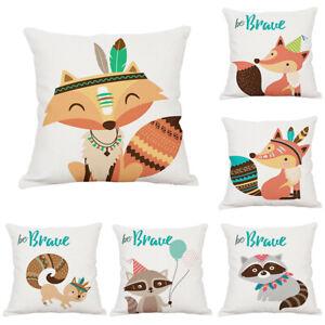 Cartoon-Animal-Fox-Cotton-Linen-Pillow-Case-Sofa-Car-Cushion-Cover-Home-Decor