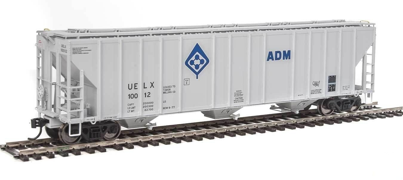 HO Scale 55' Evans 3-Bay Covered Hopper - ADM UELX Walthers