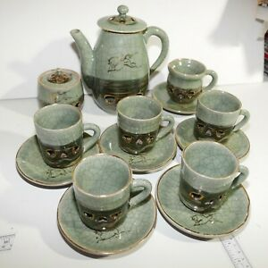 Somayaki-Soma-Ware-Green-Crackle-Horse-Heart-Teapot-Sugar-amp-Creamer-5-Cups-SET