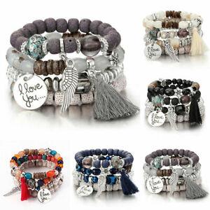 4Pcs-I-Love-You-Multilayer-Natural-Stone-Crystal-Bangle-Beaded-Bracelet-Jewelry