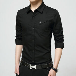 ce3150d315e New Men s Casual Cotton Long Sleeve Slim Jeans Dress Shirts Top XS ...
