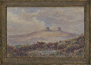 Cyril-Hardy-Signed-Late-19th-Century-Watercolour-Haytor-Rocks-Dartmoor