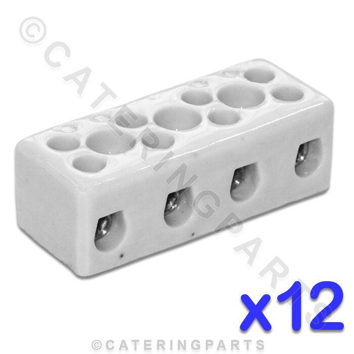 12x Céramique Haute Température Électrique Blocs de Connexion 4 Pôles 16mm 76A