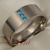 Mens Titanium Ring Wedding Band Blue Sapphire Simulated Bridal Jewelry Size 6-13