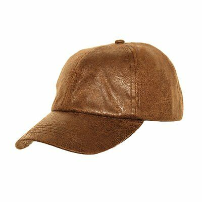 Mens Brown Vintage  worn leather look Baseball Cap  fast post 1st class