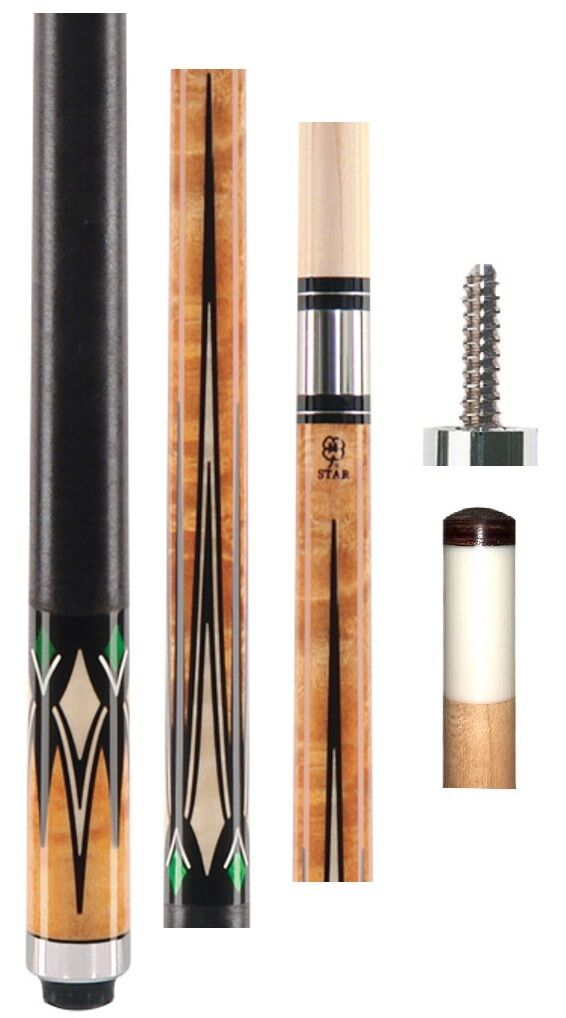 McDermott Star Cue S60 --Multi-kleur Overlay & Points -Gratis 1x1 Hard Case &CHAP