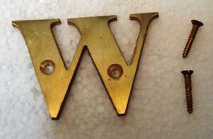 """Sur De Soi W – 2"""" Brass Letters / Letter - House Door Sign - 2nd Alphabet Avoir à La Fois La Qualité De TéNacité Et De Dureté"""