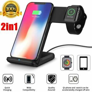qi fast ladestation qi charger kabellos ladeger t f r apple watch iphone x xs xr ebay. Black Bedroom Furniture Sets. Home Design Ideas