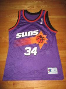 Rétro Charles Barkley #34 Phoenix Suns Basketball Jersey Maillots Cousu Blanc