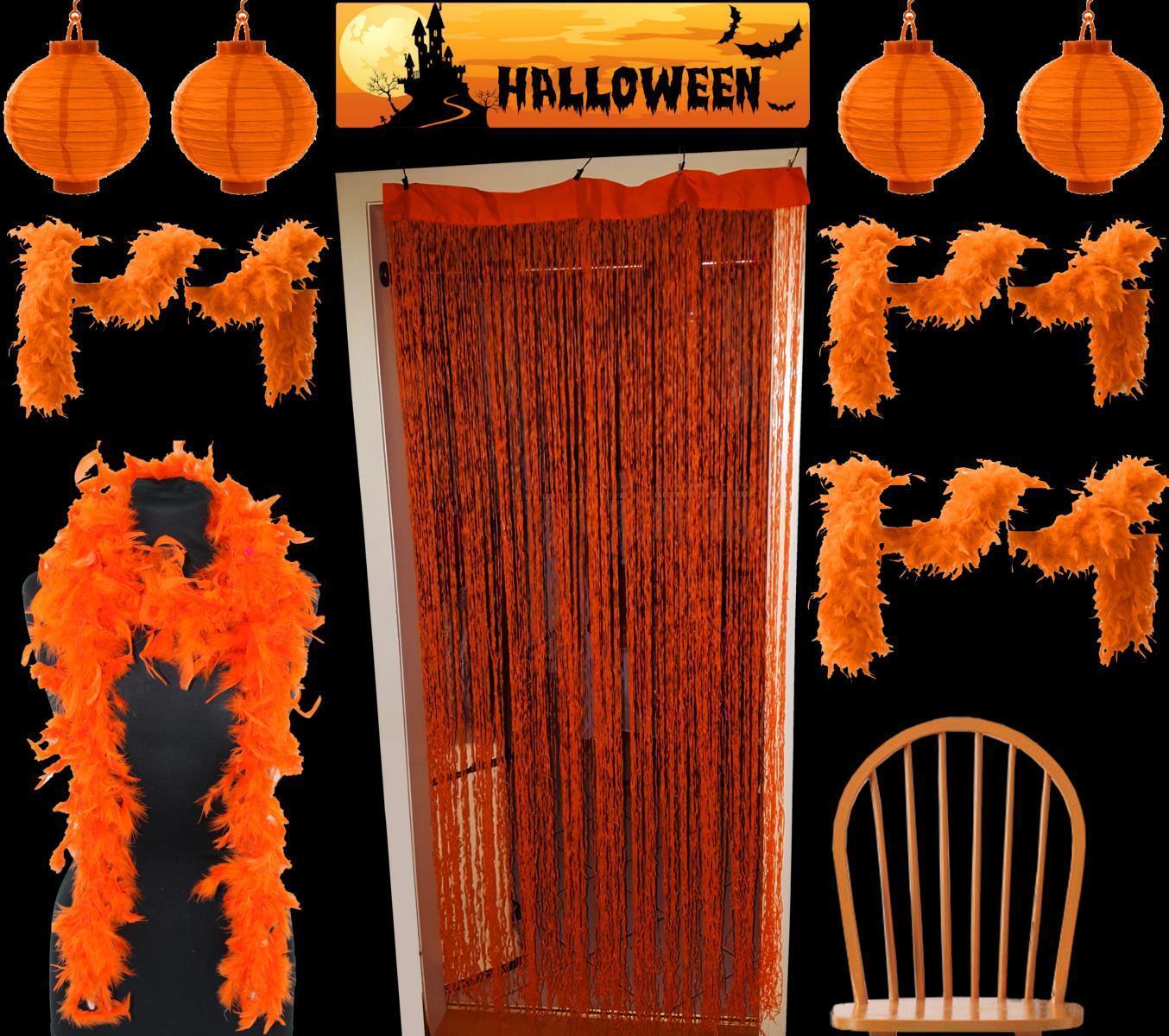 9 Set LED Solarlaterne Halloween Deko&Partylicht Feder Boa Schals Fransenvorhang