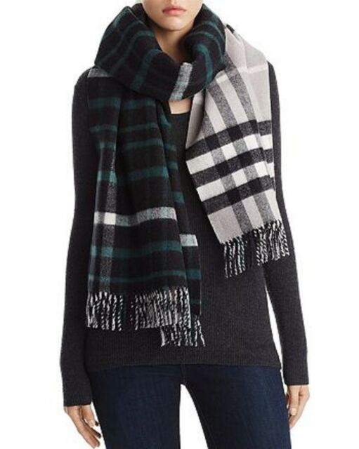 abb3bc964 NWT Burberry $695 Oversized Reversible Wool/Cashmerer Duffle Scarf, Black