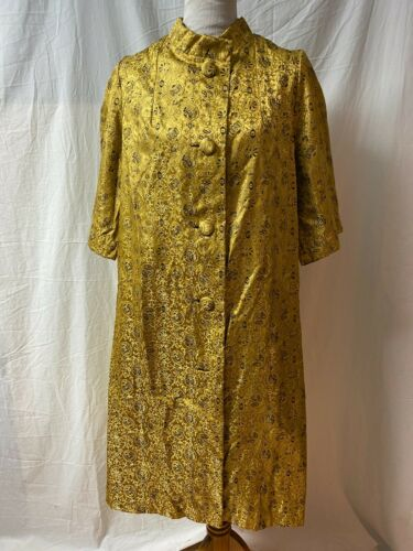 Vintage 1940s 1950s Dress Robe House Coat Gold Gol