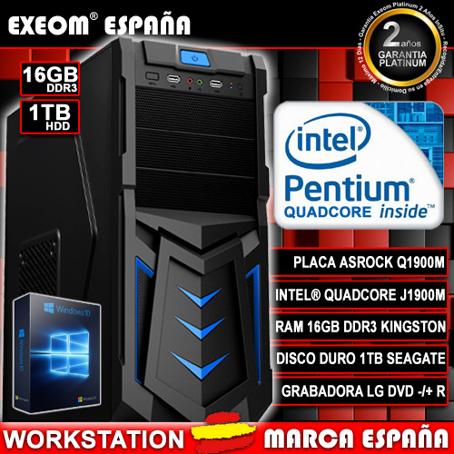 Ordenador Gaming Pc Intel Quad Core 9,6GHz 16GB 1TB HDMI De Sobremesa...