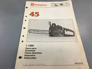 Husqvarna 45 Chainsaw Parts List Manual Ipl Illustrated 11 Ebay