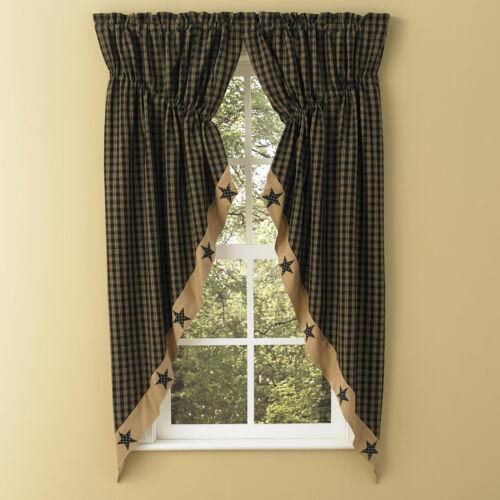 Sturbridge Star Patch Gathered Swags Prairie Curtains Park Designs Wine or Black