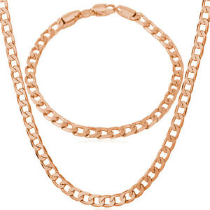 Platinum Plated Rose Gold Tone Curb Chain Necklace Bracelet Jewelry