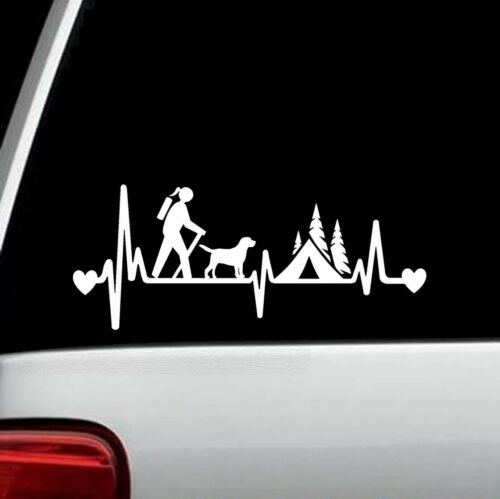 Girl Hiker Camping with Dog Camper Tent Heartbeat Lifeline Decal Sticker BG334