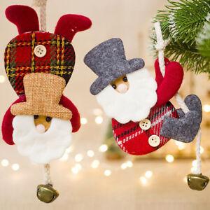 Fj-Panno-Babbo-Natale-Bambola-Jingle-Campana-Albero-di-Ornamento-da-Appendere