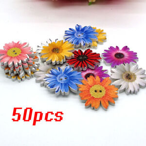 Daisy Buttons  50pcs  2 Holes  Flower  DIY  Craft  Assorted  Wooden  25mm