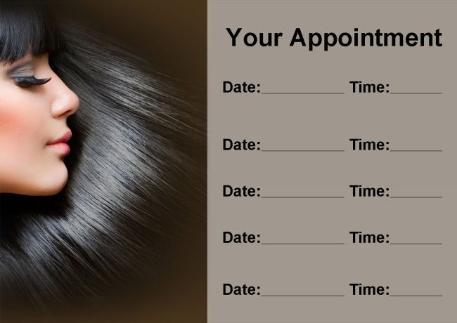 Beauty Salon Hair Hairdresser Personalised Appointment Cards