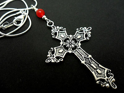 A LOVELY TIBETAN SILVER  LARGE CROSS//CRUCIFIX RED JADE BEAD NECKLACE.