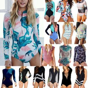 Women-039-s-Rashguard-One-Piece-Long-Sleeve-UV-Protection-Surfing-Swimsuit-Swimwear