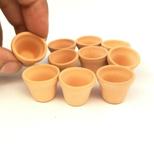 10 Terracotta Pots Flower Clay Pots Dollhouse Miniature Garden Supply Decor Diy