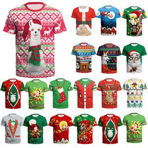 Herren-Damen-Weihnachten-3D-Kurzarm-T-Shirt-Oberteil-Freitzeit-Festival-Shirt