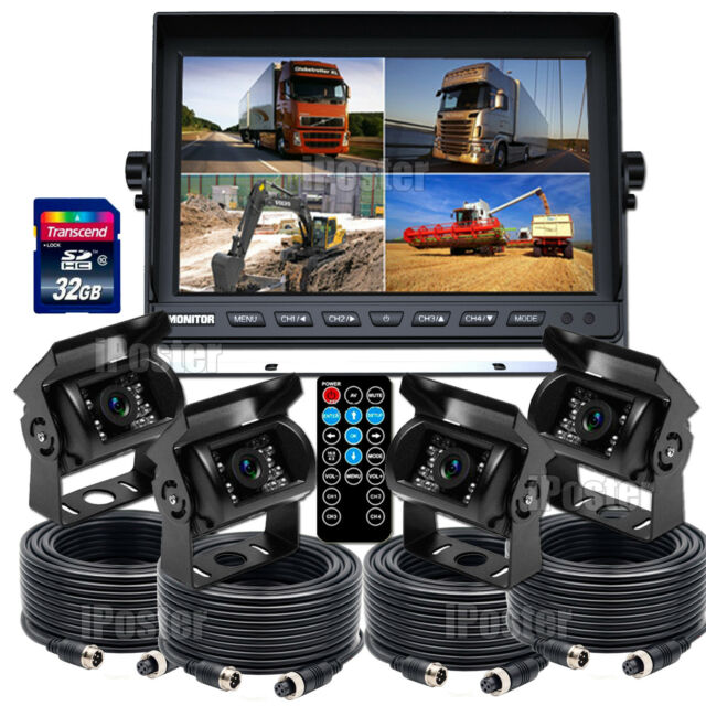 "9"" DVR Monitor 4CH Realtime Reversing Recording CCD Camera Kit 4 Cameras Package"