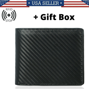 RFID-Blocking-Men-039-s-Carbon-Fiber-Leather-Bifold-Credit-Card-ID-Holder-Wallet-US
