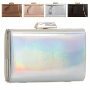 2f53d02f84e4 Image is loading Ladies-Shiny-Metallic-Hologram-Clutch-Bag-Compact-Box-