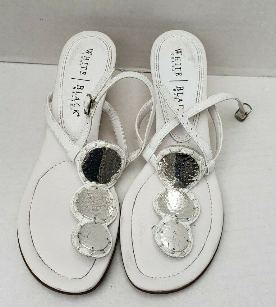 White House Black Market Metallic Silver Wedge Sandals Adjust T BIANCA 9.5 M