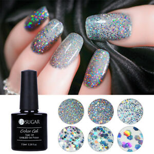 7.5ml Soak Off Holographic UV Gel Nail Polish Sequins Sparkle ... 4cae341703c8